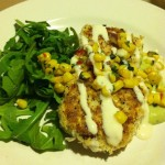 "2nd course: tofu & bulgur wheat ""crab cakes"" w/basil corn relish, horseradish cream, & avocado sauce"