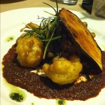 3rd course: Grilled eggplant, pumpkin plantain purée, curry spiced cauliflower tempura, fried leeks, & tandoori spiced tomato sauce